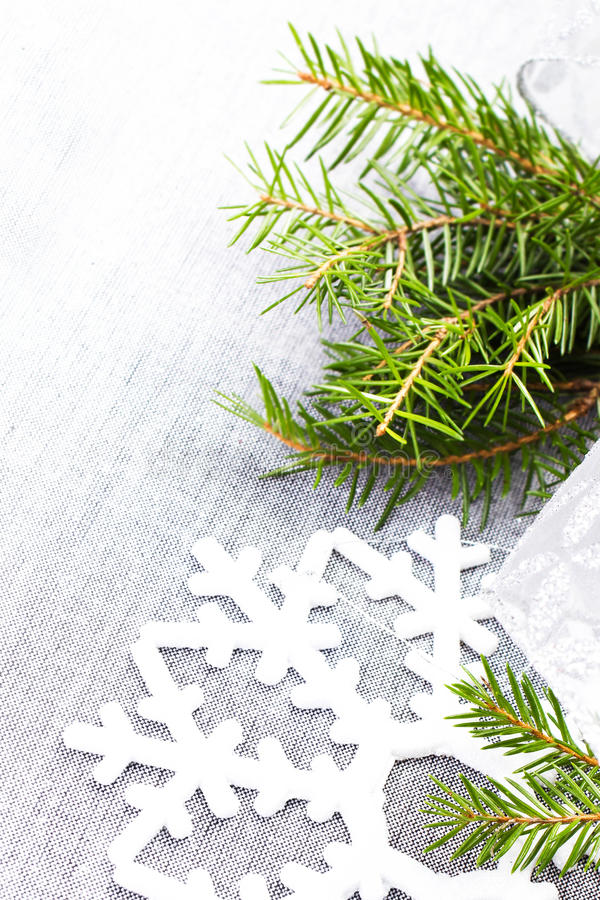 Download Christmas Tree Branch And White Christmas Ornaments On Soft Grey Stock Image - Image: 35409049