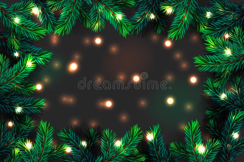 Christmas tree branches background. Festive Xmas border of green branch of pine with sparkling lights garland, vector illustration stock photo