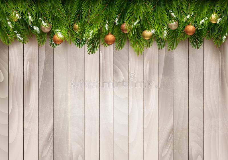 Christmas tree branches with baubles on a wooden background. Vector vector illustration