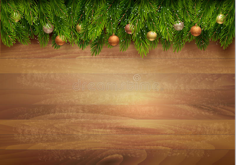 Christmas tree branches with baubles on a wooden background. Vector stock illustration