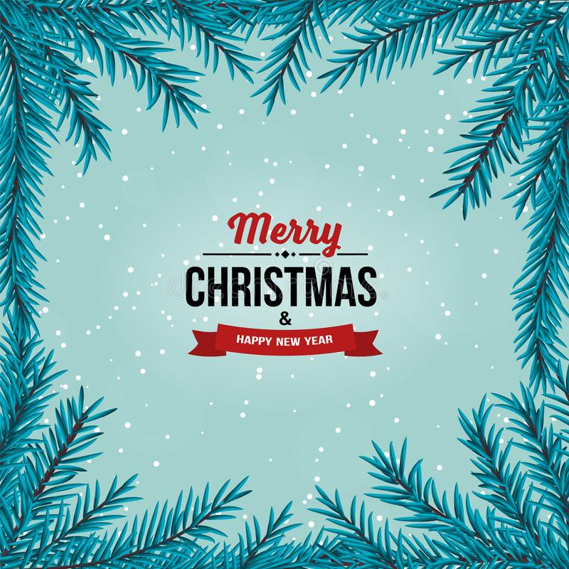Christmas tree branches border on the light blue background with falling snow. vector illustration