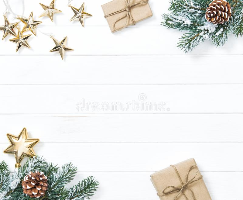 Christmas tree branches gifts ornaments Winter holidays background royalty free stock photos