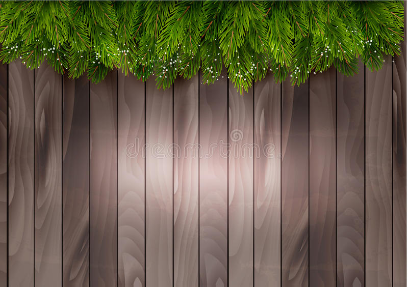 Christmas tree branches on a wooden backdrop. Vector stock illustration