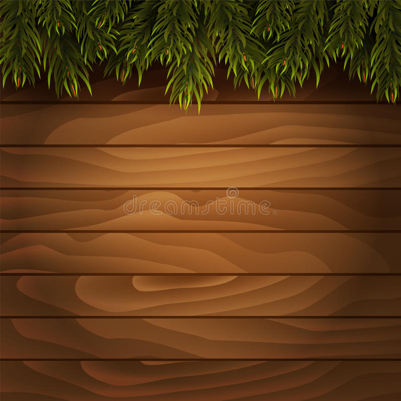 Christmas tree branches on wooden background. Vector royalty free illustration