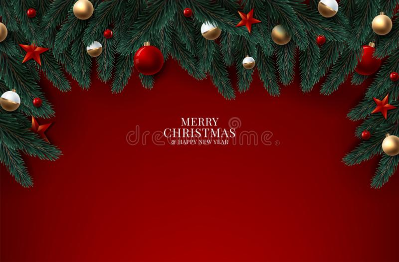 Christmas tree branches on wooden background, vector illustration vector illustration