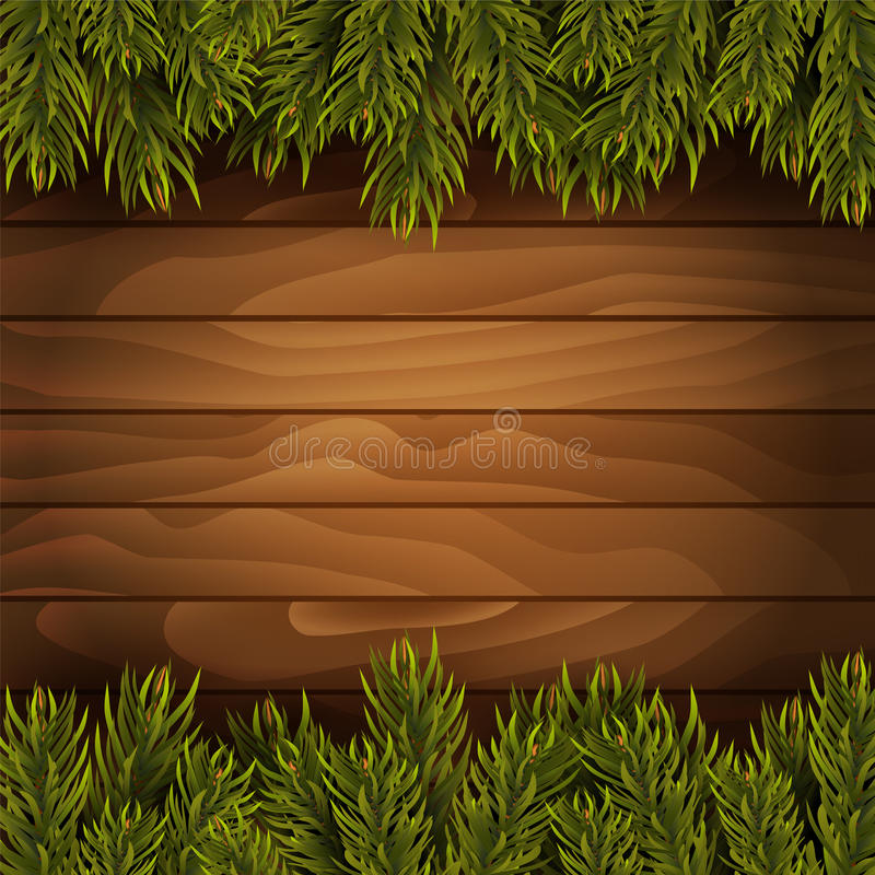 Christmas tree branches on wooden background. Vector illustration royalty free illustration