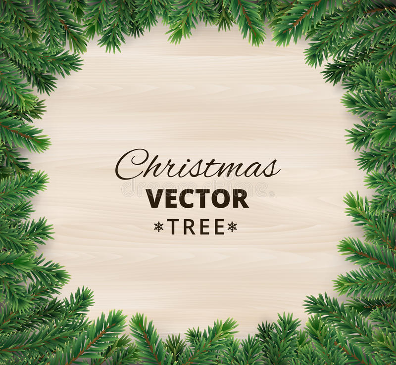 Christmas tree branches on wooden background, vector illustration. Realistic fir-tree border, frame. Great for christmas cards, banners, flyers, party posters stock illustration