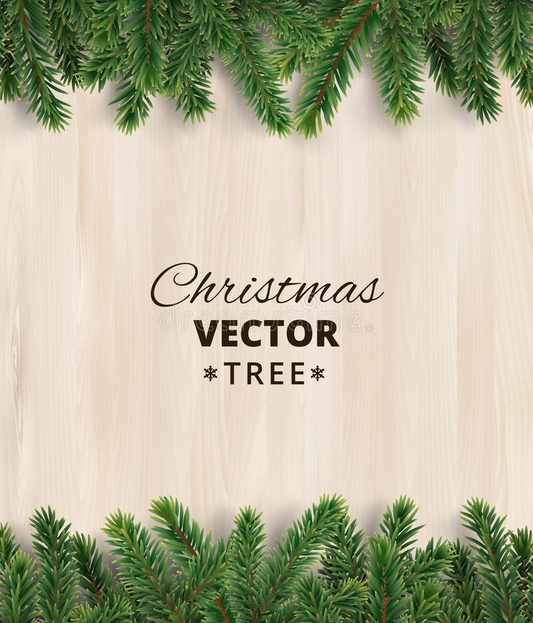 Christmas tree branches on wooden background, vector illustration. Realistic fir-tree border, frame. Great for christmas cards, banners, flyers, party posters royalty free illustration