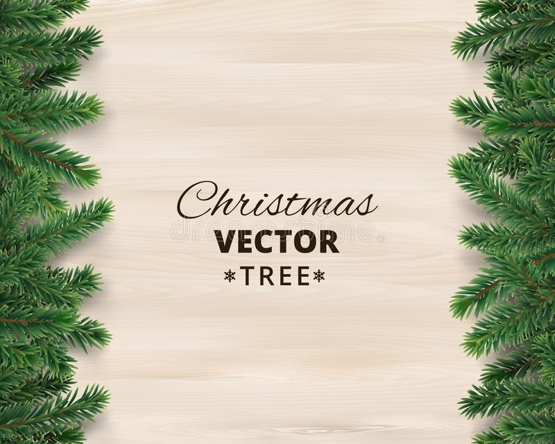 Christmas tree branches on wooden background, vector illustration. Realistic fir-tree border, frame. Great for christmas cards, banners, flyers, party posters vector illustration