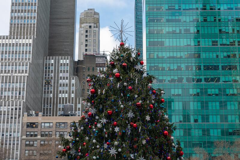 Christmas Tree at Bryant Park in New York City. The Christmas tree at Bryant Park in Midtown Manhattan of New York City with skyscrapers in the background royalty free stock images
