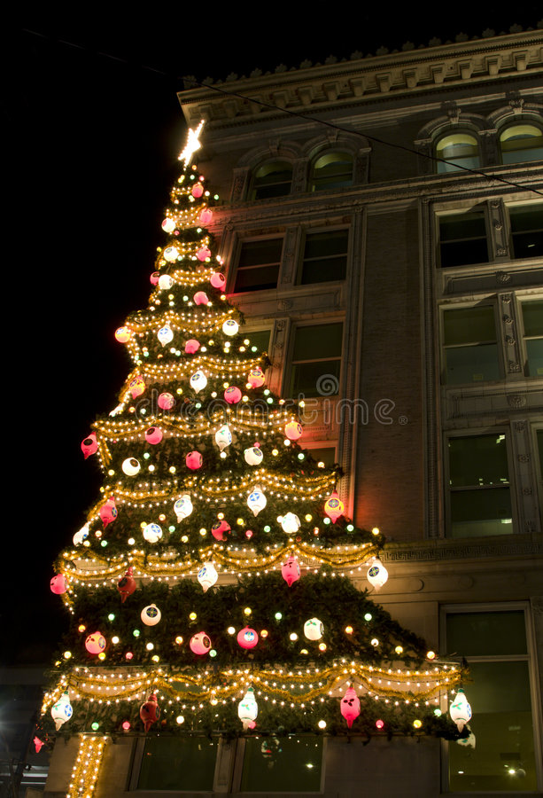 Download Christmas Tree On Building Stock Image. Image Of Religion   7865621