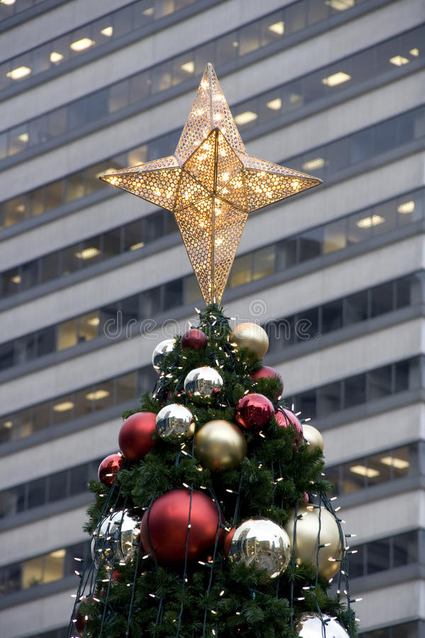 Christmas tree building wall stock photography