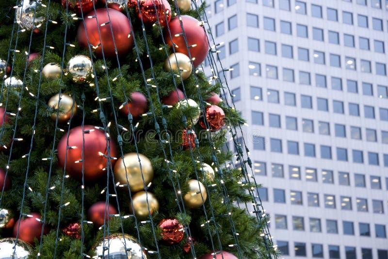 Christmas tree building wall stock image