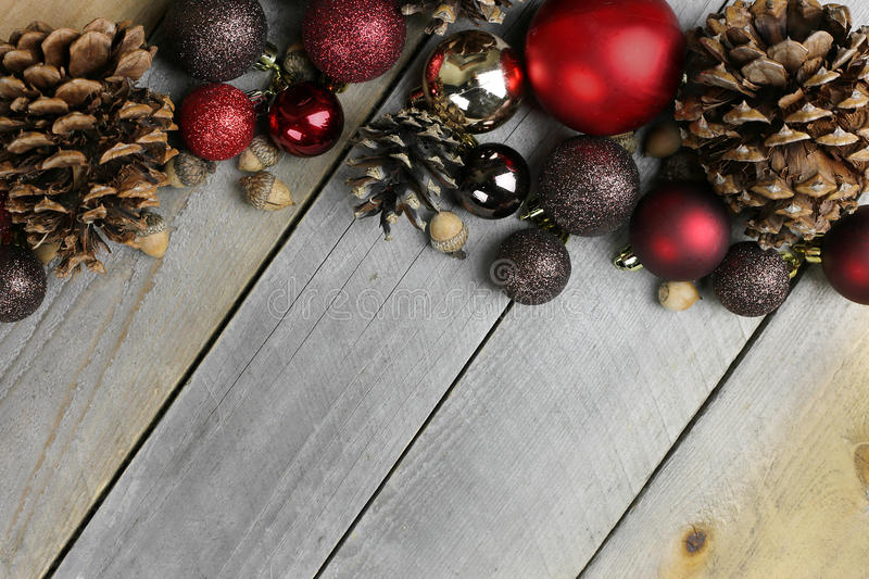 Christmas Tree Bulbe Decorations Frame Rustic Wood Background royalty free stock photography