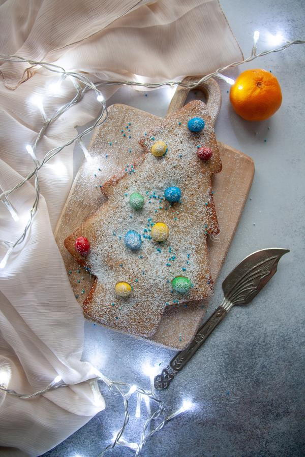 Christmas tree cake stock photography