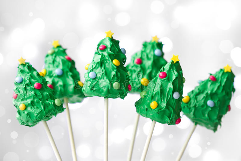 Christmas tree cake pops stock photo
