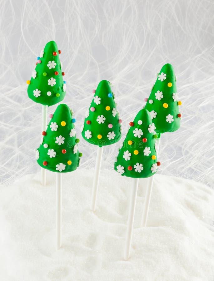 Christmas tree cake pops royalty free stock image