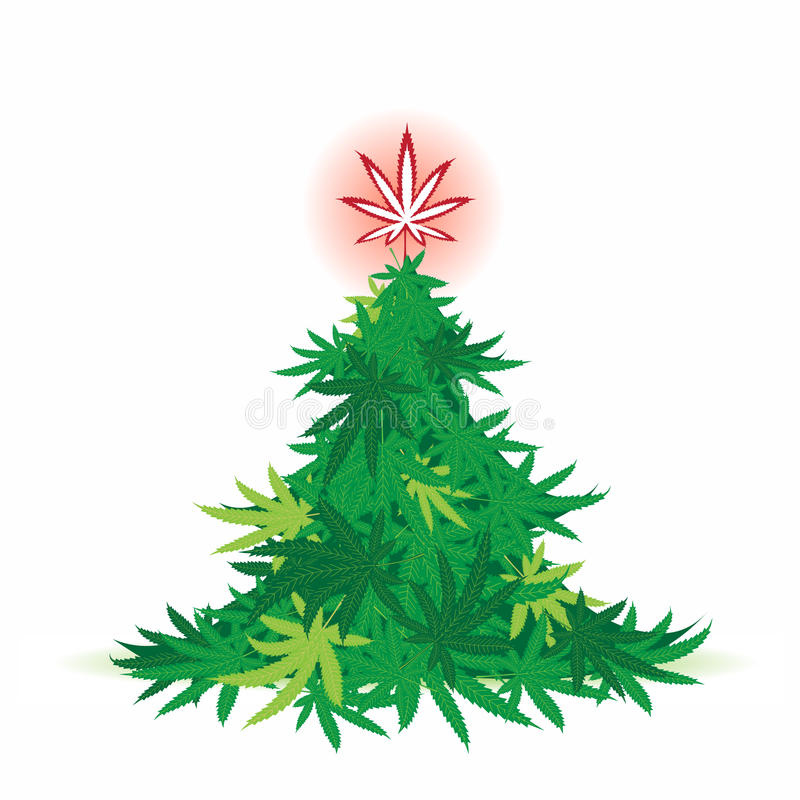 Christmas tree, cannabis leaf royalty free illustration