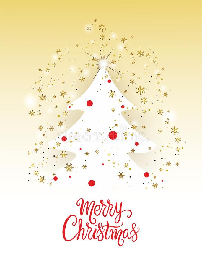 Christmas tree card with golden snowflakes - vector. Christmas tree card with golden snowflakes and the words Merry Christmas - vector. Eps file available vector illustration