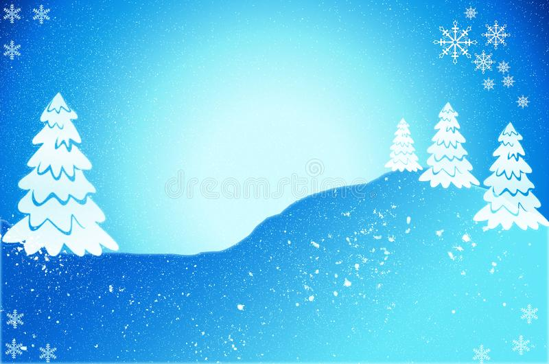 Christmas tree card with snow. Christmas tree illustration royalty free stock photos
