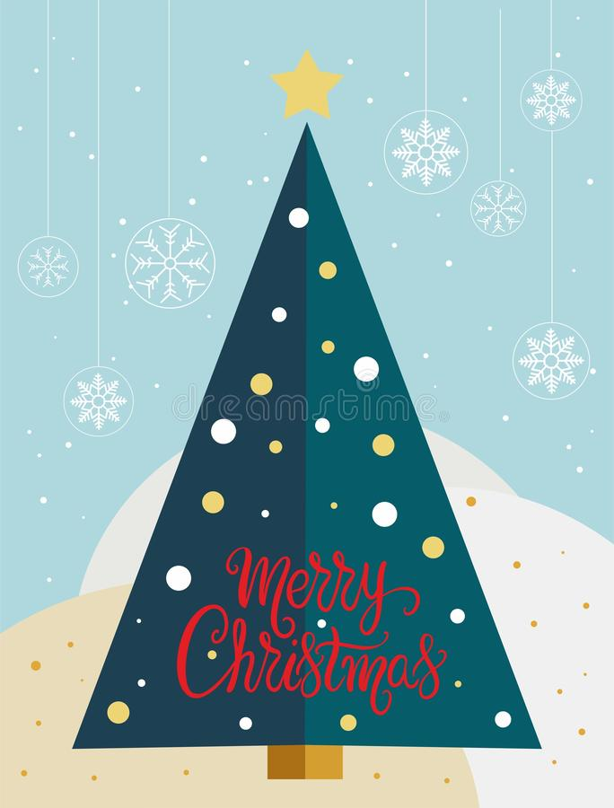 Christmas tree card with snowflakes globes - vector. Christmas tree card with snowflakes globes and the words Merry Christmas - vector. Eps file available vector illustration