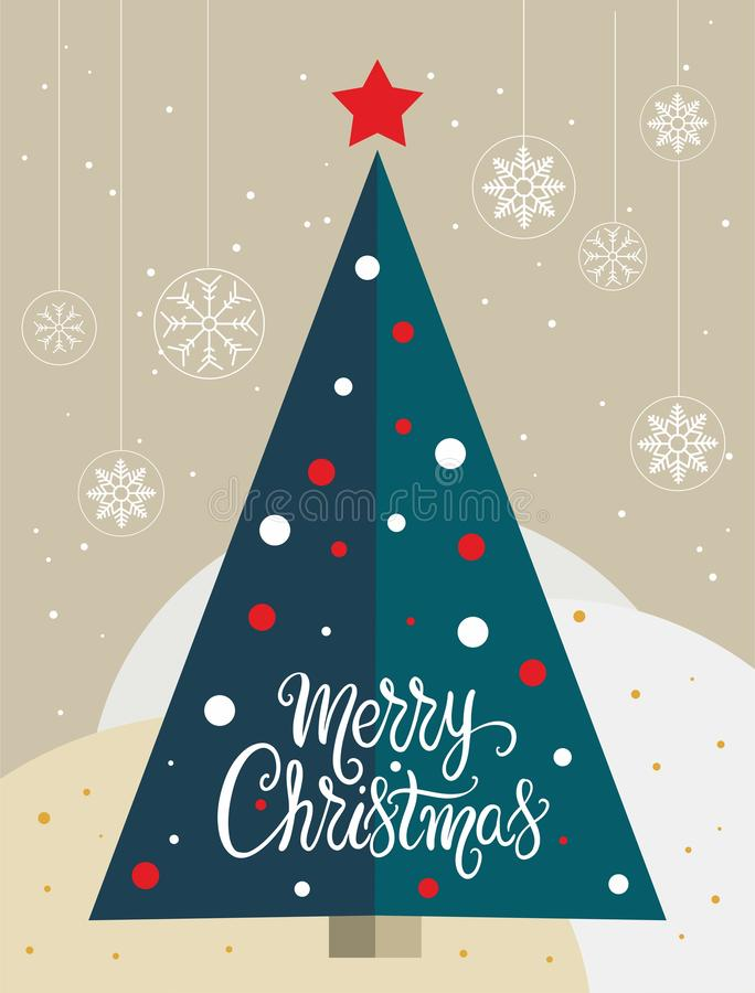Christmas tree card with snowflakes globes - vector. Christmas tree card with snowflakes globes and the words Merry Christmas - vector. Eps file available royalty free illustration