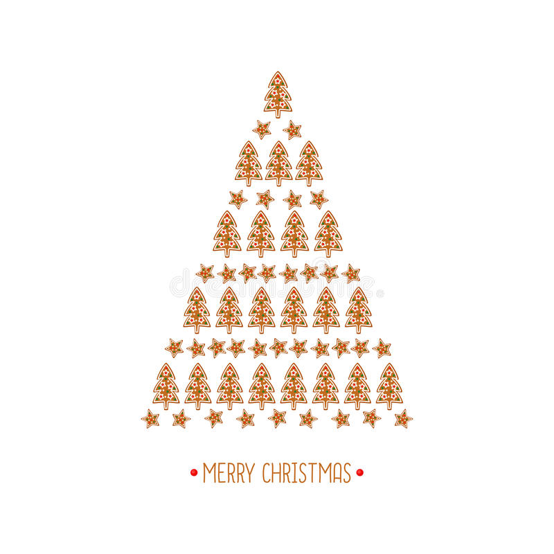 Christmas tree card. Xmas cookies collection - gingerbread cookies on white background - Xmas tree and star. royalty free illustration