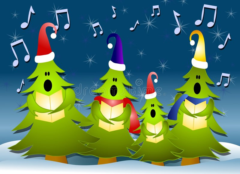 Christmas Tree Carolers Singing In Snow. A clip art illustration of a group of Christmas Tree carolers singing, dressed in hats and scarves surrounded by musical