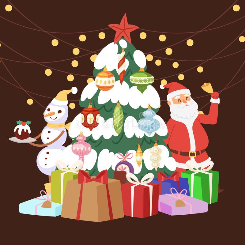 Christmas tree with cartoon Santa claus, gift boxes, light and snowman vector illustration. Presents and decoration vector illustration