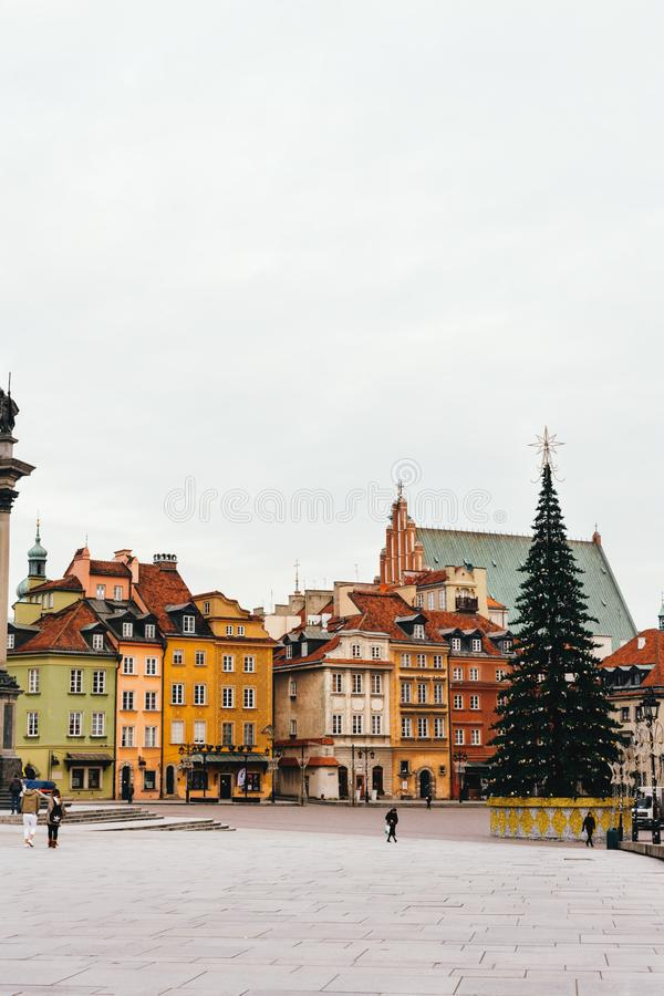 Christmas tree in Castle Square. Plac Zamkowy Stare Miasto. Wa royalty free stock images