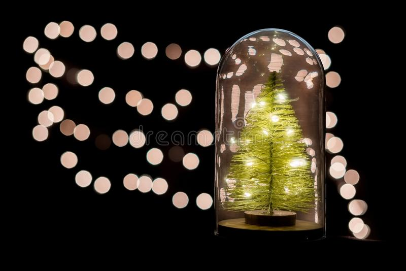 Christmas tree and celebrate lights in snow globe and copy space stock image