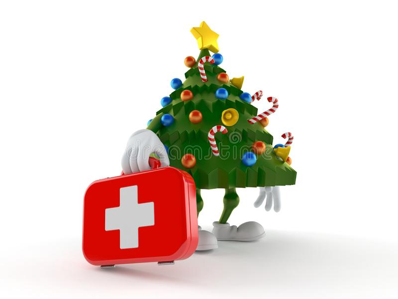 Christmas tree character holding first aid kit vector illustration