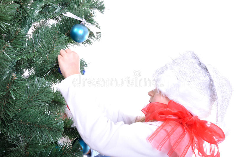 Christmas tree and child royalty free stock photography