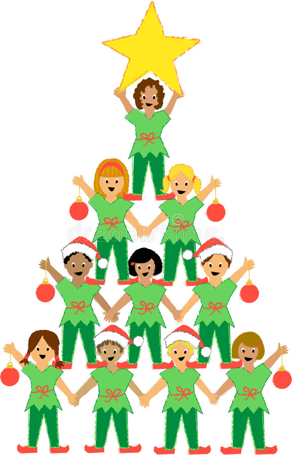 Christmas Tree of Children. Illustration of a pyramid of children dressed as Christmas elves, representing a Christmas tree...matching kids nativity pageant in