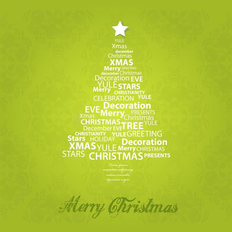 Christmas tree of christmas words. Vector art royalty free illustration