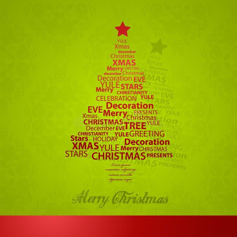 Christmas tree of Christmas words. Vector art stock illustration