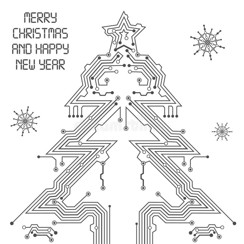 vector christmas tree from digital electronic circuit stock vector