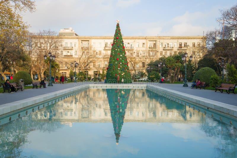 Christmas tree at the city fountain, Baku royalty free stock photography