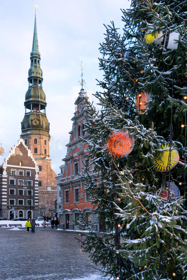 Christmas tree on City Hall Square on the background of St. Pete. R in Riga. Latvia, Baltic state royalty free stock image