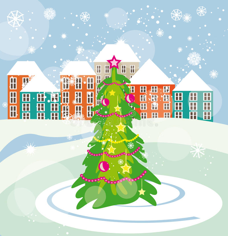 Christmas tree on the city square stock illustration