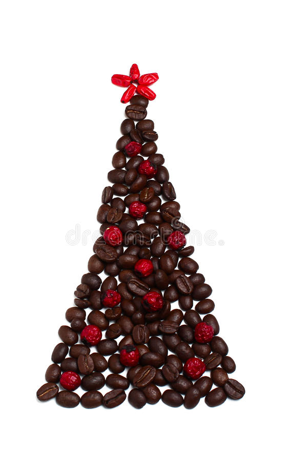 Christmas tree from coffee beans stock image