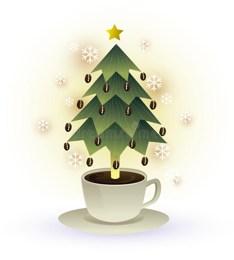 Christmas tree coffee cup graphic royalty free illustration