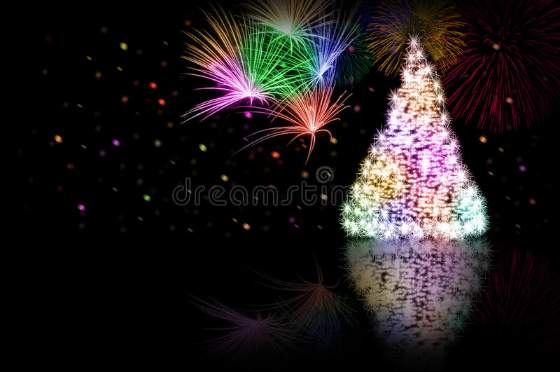 Christmas tree - color - and fireworks. Digital art photo ilustrating the christmas feel royalty free stock photography