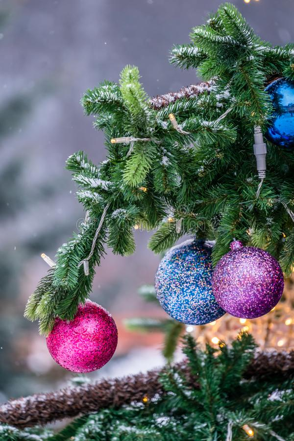 Christmas tree colorful decorations stock image