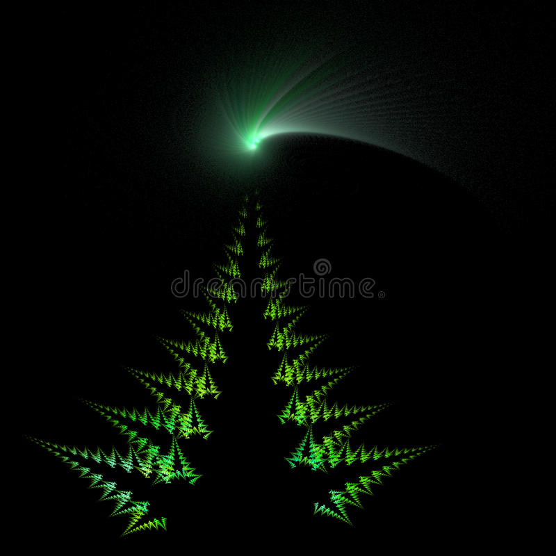 Christmas tree and comet star. Isolated on black background - Illustration created from a fractal vector illustration