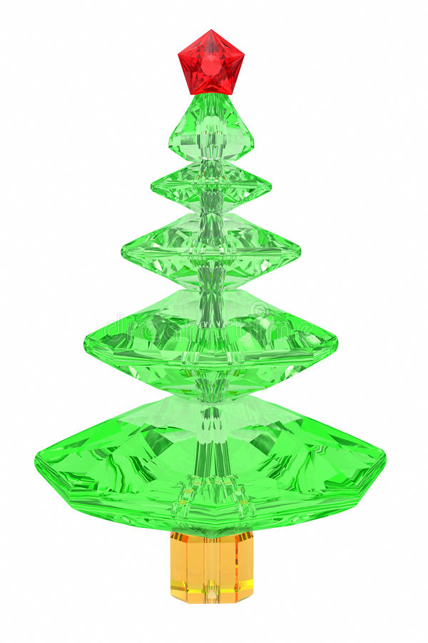 Christmas tree composed of colored gemstones stock photo
