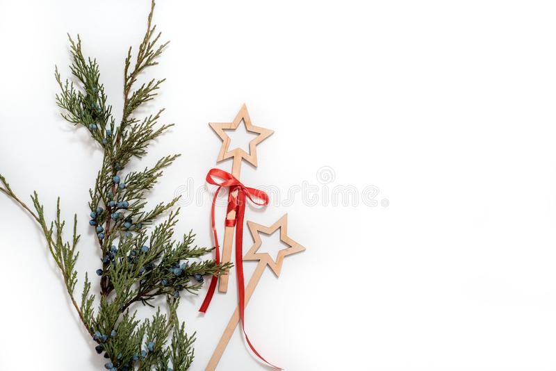 Christmas Tree with Cones border on a White background. New Year holiday evergreen tree, Xmas green art corner design. Branches of. Christmas Tree with Cones royalty free stock photo