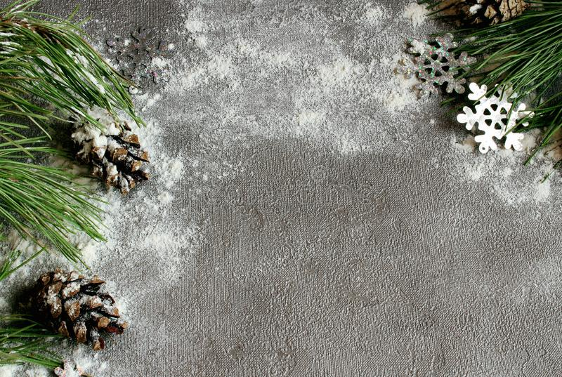 Christmas tree and cones in the snow on a gray background and snow for a New Year greeting card with free space for text. Christmas tree and cones in the snow on stock image