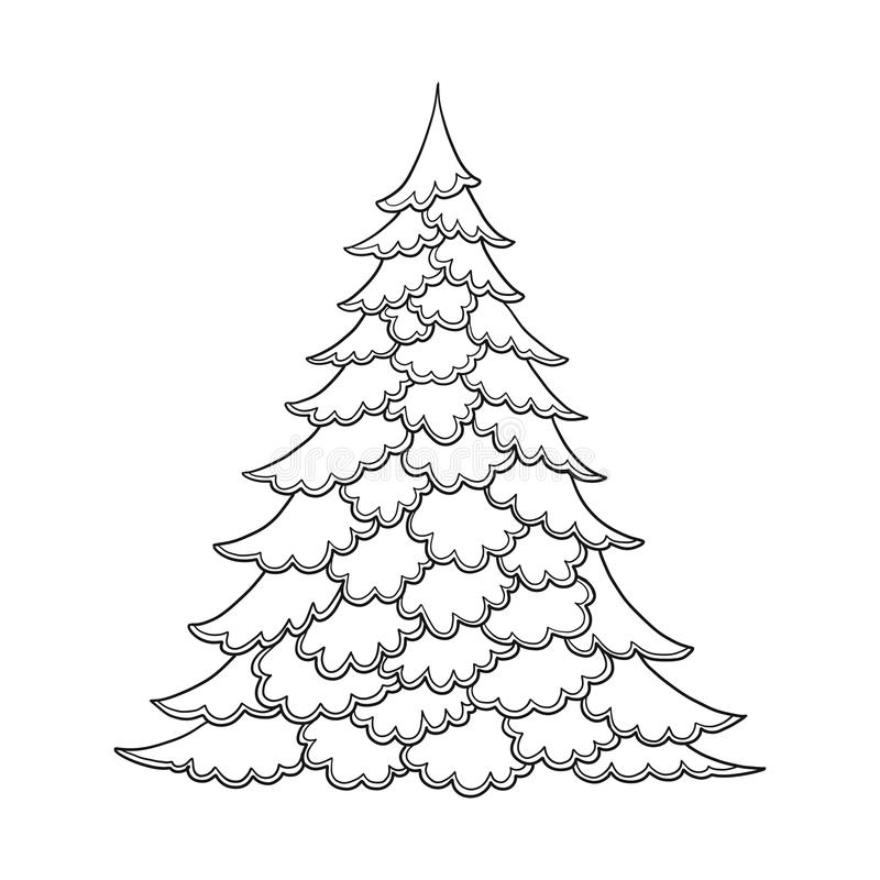 Download Christmas Tree Contour Drawing Good For Coloring Page The Adult Book