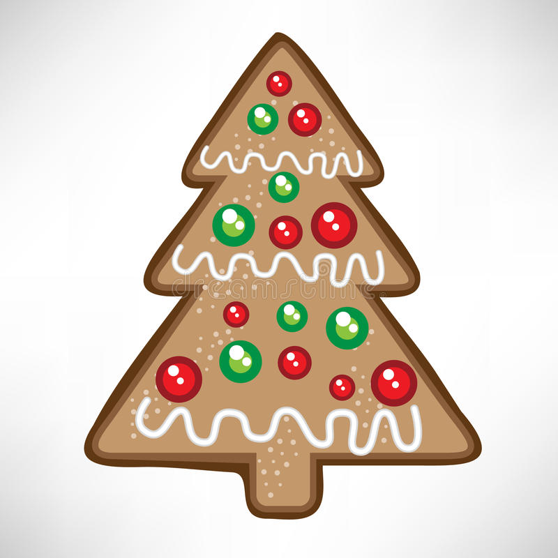 Christmas tree cookie. Single christmas decorated tree cookie stock illustration